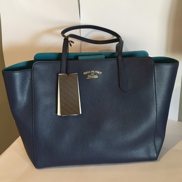8741ade1a70d Gucci Swing Leather Medium Tote Navy Turquoise
