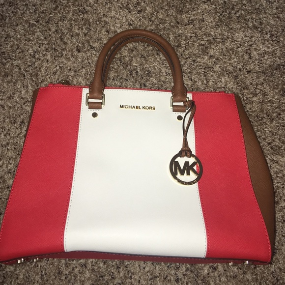 48e330d6711c18 Michael Kors Bags | Orange White Brown Bag | Poshmark