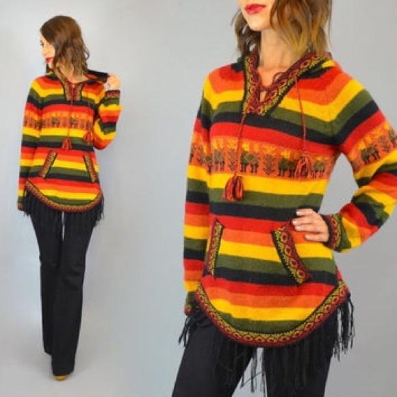 Sweaters On Saleperuvian Earthyfringed Alpaca Hoodie Poshmark