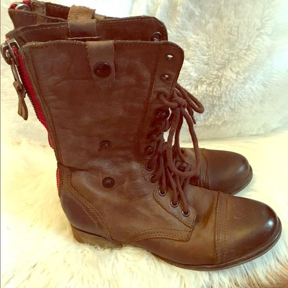 77% off Steve Madden Shoes - Steve Madden Red Zipper Combat Boots ...