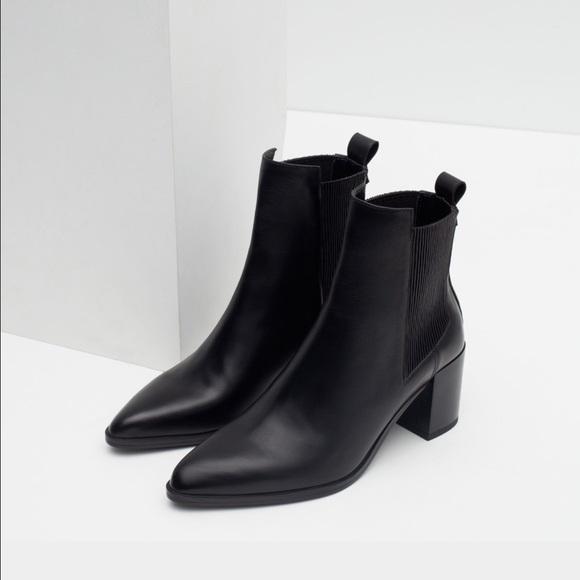 Zara Black Block Heel Leather Booties