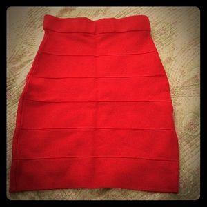 Red high waisted mini skirt