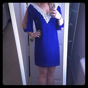 Royal Blue Dress with White Trim