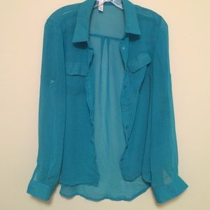 Tops - Cute Sheer Teal Button Down Blouse ( Size Large)