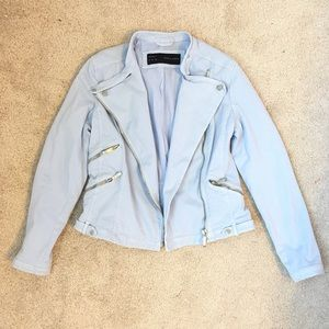 Zara Jackets & Blazers - Zara Blue Moto Jacket (Pantone Color of the Year)