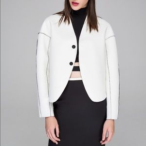 Front Row Shop Jackets & Blazers - White & Black Reversible Neoprene Cocoon Jacket