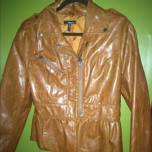 Faux leather short Brown Jacket.