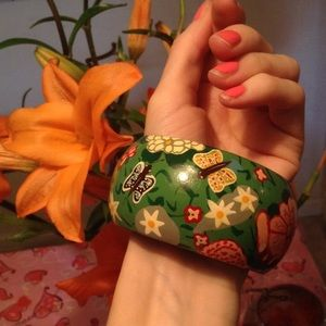 Hold Lost Hand Painted Butterfly Wood Bangle