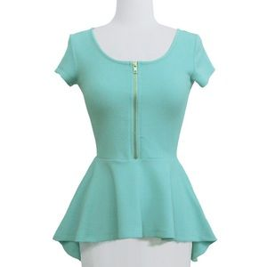 Mint high low peplum zippered top