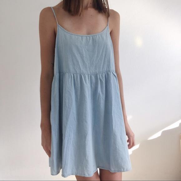 8606713dbc American Apparel Dresses   Skirts - Denim Spaghetti Strap Babydoll Dress