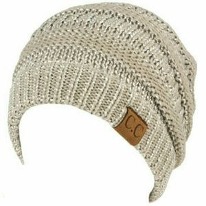 NWT Ribbed slouch beanie knit hat Metallic Silver