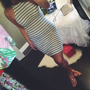 Striped Ribbed Fitted Tank Dress