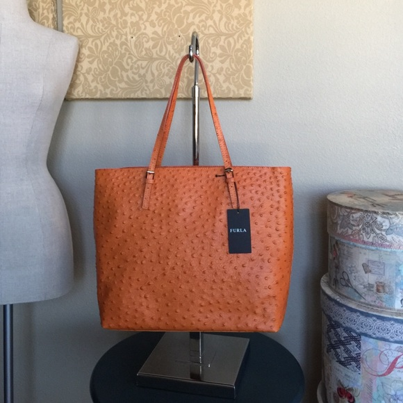 c362890343 Furla Bags | Ostrich Embossed Leather Tote | Poshmark