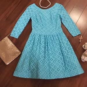 Lilly Pulitzer teal blue lace Lori dress sz 2