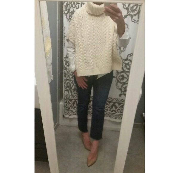 Gap Sweaters Cable Knit Turtleneck Poncho Sweater Poshmark