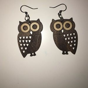 Wooden owl earrings
