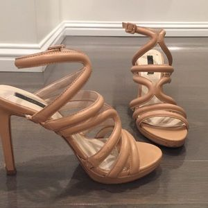 Nude Zara high heeled sandals with straps