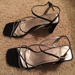 Valerie Stevens Shoes - Valerie Stevens Latte Black Rhinestone Heels