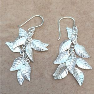 Sterling Silver Leaf Drop Dangle Earrings
