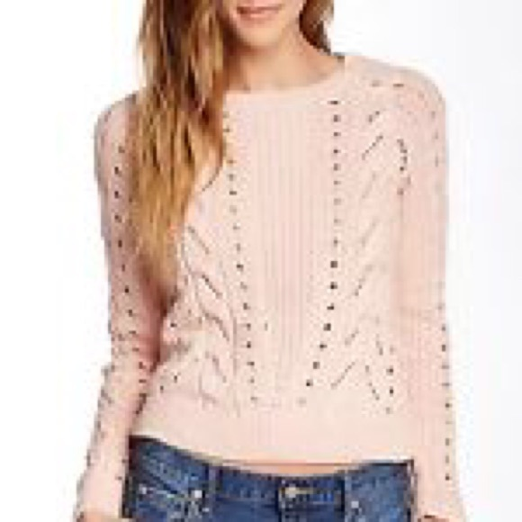 75% off Lucky Brand Sweaters - LUCKY BRAND Pale Pink Cable Knit ...