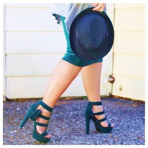 JustFab Shoes - Embellished Green Suede Heels + Tassels