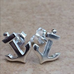 Sterling Silver 925 Nautical Anchor Stud Earrings