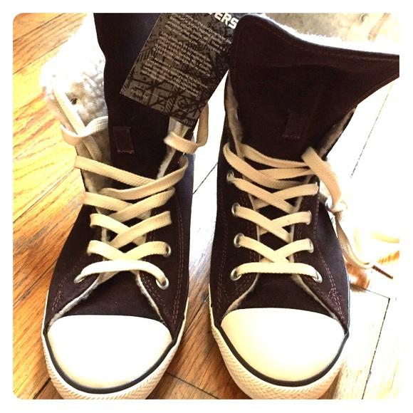 01b5bb611b2c Brand New Converse High Tops - Faux fur lining