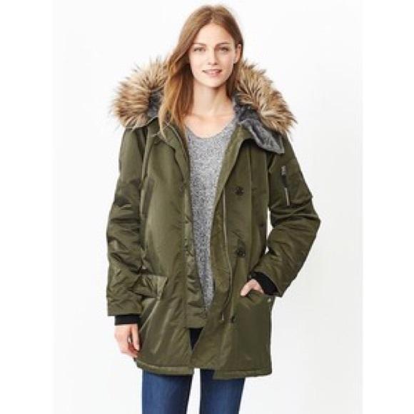 2265d54bf GAP Fur-trim snorkel parka, puffer coat