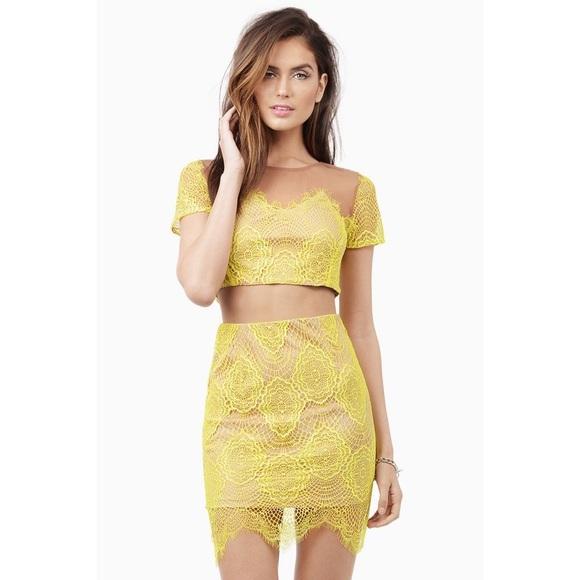 adf38634855 Tobi Dresses   Crop Topskirt Set Yellow Lacenude Mesh   Poshmark