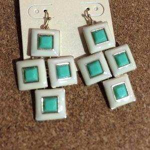 White and Mint Geometric Earrings