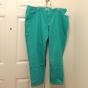 FINAL NEW Cato Pool Green Ankle Length Jeans 24W