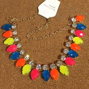 Neon and Rhinestone Fashion Necklace