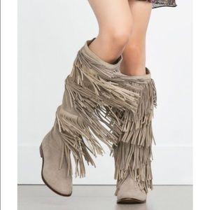 Zara fringe boots