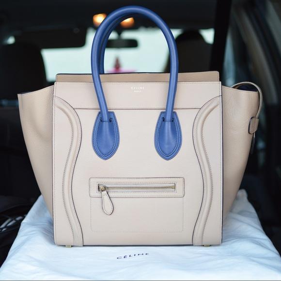 54506b961973 CELINE Mini Luggage Tote Handbag Beige Royal Blue