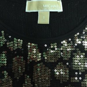 😍Michael by Michael KORS Sequin Black & Gold Top