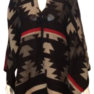 NEW poncho cape Aztec Indian woven red black tan
