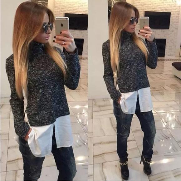 Tops Lovely Sweater Blouse Combo Black Poshmark