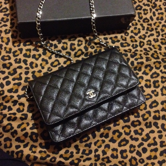 aedcd690778e CHANEL Handbags - Authentic CHANEL black caviar wallet on the chain.