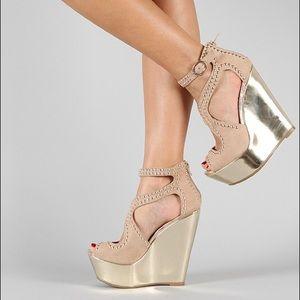 Nude Beige Studded Strappy Crisscross Sandal 8
