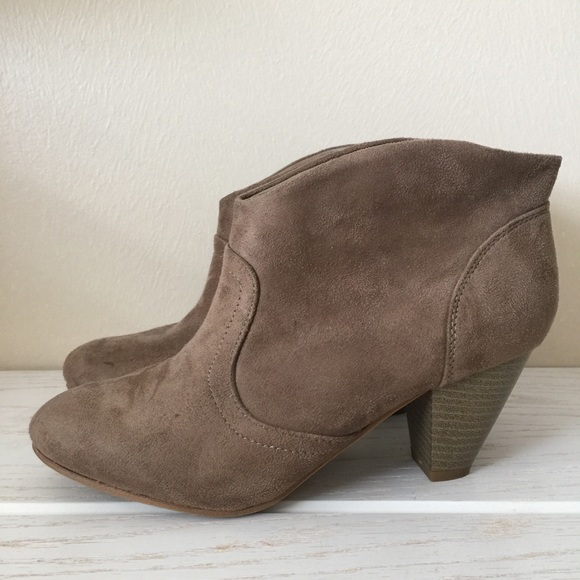 Charlotte Russe Shoes - Taupe Faux Suede Ankle Booties