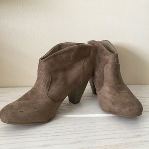 Taupe Faux Suede Ankle Booties