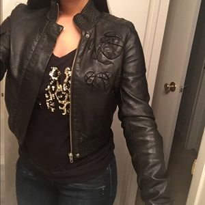 Leather Bebe biker jacket