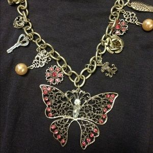 Butterflies and pink stones necklace