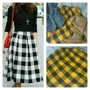 Vintage JCPenny Buffalo plaid full flare skirt