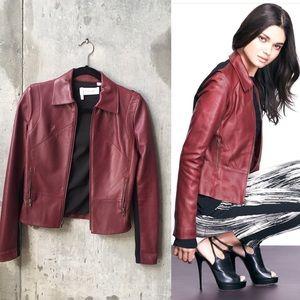 10 Crosby Derek Lam Jackets & Blazers - ✨HP sale ✨Derek Lam leather jacket wine peplum