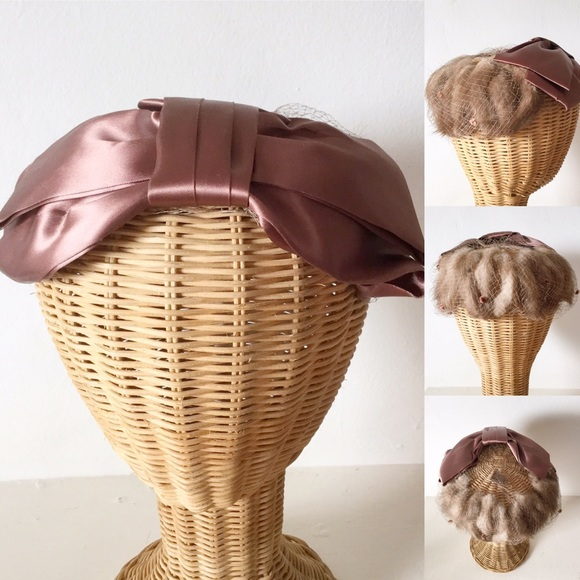 Vintage 50s Fur And Netted Fascinator Hat a0f692492d7