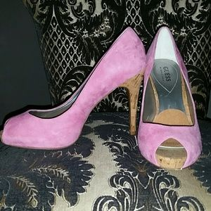 NWOB Guess by Marciano Pink Peep Toe Platforms 8.5