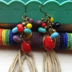 Rainbow Stone Earrings Multi Color Chakra Charger