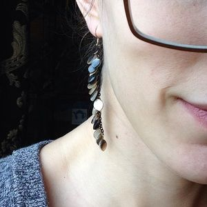Anthropologie Jewelry - Mother of Pearl Tiered Dangle Leaf Earrings Long