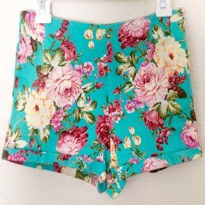 Brandy Melville Pants - Brandy Melville Floral Shorts High Waisted